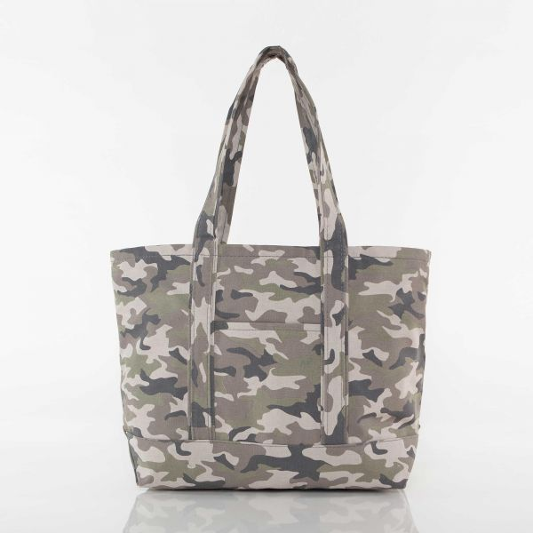 Large w//Front Design Camo Bucket Tote w//Genuine Leather Trim Personalized