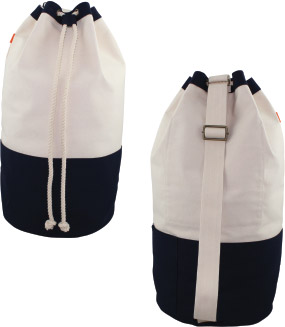 wholesale-laundry-duffel-navy-rope-closure-pocket-shoulder-strap