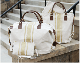Brushed Canvas Gold Natural Bags