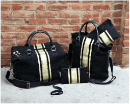 Brushed Canvas Gold Black Bags