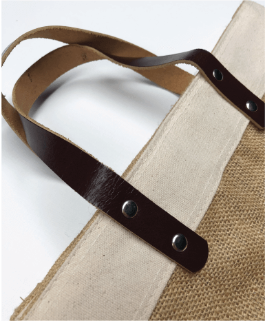 Jute Market Bag With Leather Handle